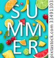 Summer Banner with Pineapple, Watermelon, Banana 33491303