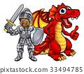 dragon, knight, medieval 33494785