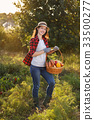 woman with basket of vegetables 33500277