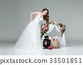 bride girl with dog wedding couple under flower 33501851