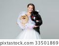 bride girl with Spitz dog wedding couple 33501869
