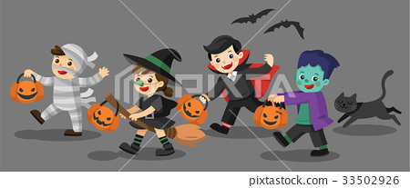 Funny children in Halloween fancy dress and a cat. 33502926