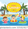 Happy kids play and swim at the sea. 33502927