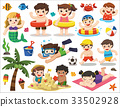 Happy kids playing on the beach and swimming.  33502928