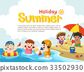 Happy kids play and swim at the beach. 33502930