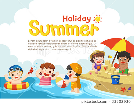 Happy kids play and swim at the beach. 33502930