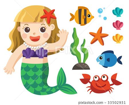 Mermaids and sea animals 33502931