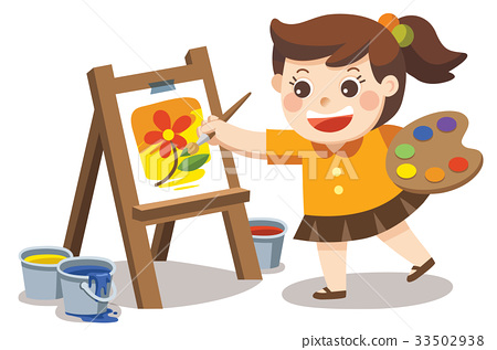 Cute artist girl painting flower on canvas. 33502938