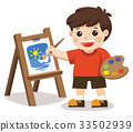 Cute artist boy painting flower on canvas. 33502939
