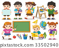 Set of adorable student study in school. Isolate 33502940