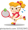 Tennis player with a racket in her hand. 33502945