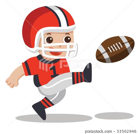 Sport boys. A cute boy playing American football. 33502946