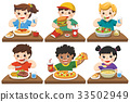 Kids eating delicious food on the dining table. 33502949