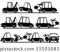 motorbike accident with car in silhouette set. 33503083