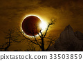 Total solar eclipse in dark glowing sky 33503859