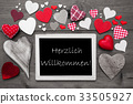 Chalkbord With Hearts, Willkommen Means Welcome 33505927