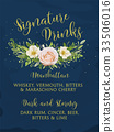 Wedding signature drink bar menu card flower 33506016