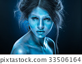 Fantasy woman with blue frost makeup and skin 33506164