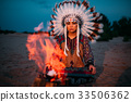 American Indian girl against bonfire, shaman 33506362