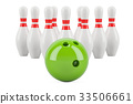 set of bowling concept, 3D rendering 33506661