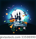 Halloween character and element design background 33506990