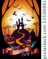Halloween character and element design background 33506991