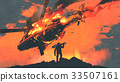 man with rocket launcher looking burns helicopter 33507161