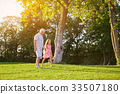 girl, grandfather, outdoors 33507180