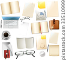 Different office supplies on white background 33510999