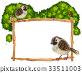 Frame template with two sparrows 33511003