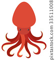 Red octopus on white background 33511008