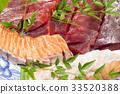 金槍魚和鮭魚生魚片 33520388