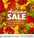 Autumn vector sale poster leaf, rowan berry acorn 33520885