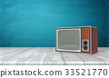 3d rendering of a large old-style CRT TV set in a 33521770