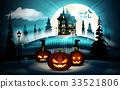 Halloween pumpkins in graveyard and dark castle on 33521806