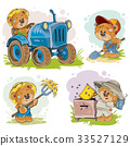 Set of vector illustrations of teddy bears tractor 33527129