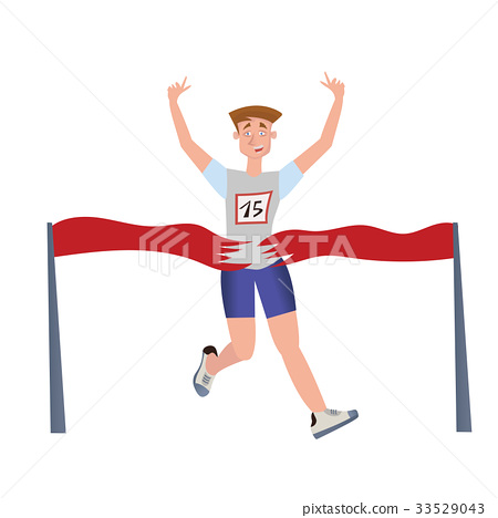 Finishing runner man. Athlete, marathon winner 33529043