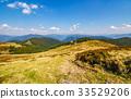 grassy meadow on a hillside in autumn 33529206