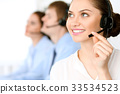 Call center operators. Focus at  business woman i 33534523