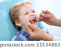 Close up of boy having his teeth examined by a 33534863
