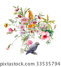 watercolor painting with bird and flowers on white 33535794