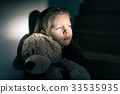Sad little girl embracing her teddy bear - feels lonely 33535935