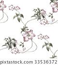 ดอกไม้,แบบ,สีน้ำ 33536372