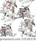 ดอกไม้,แบบ,สีน้ำ 33536378