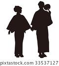 シルエット 浴衣のカップル 盆踊り 祭り ゆかた姿 手をつなぐ二人 33537127