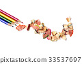 pencil crayons and shavings of different colors 33537697