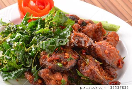 Thai food name Spicy Fried Stir Catfish 33537835