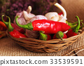 garlic, green and red hot chili peppers 33539591