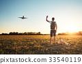 airplane, sunset, hello 33540119