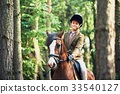 Girl riding a horse in forest 33540127